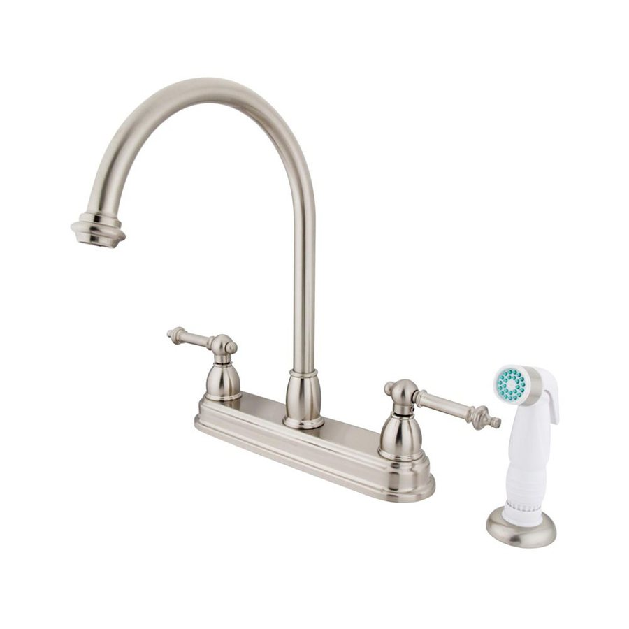 Elements of Design St. Paul Satin Nickel 2-Handle High-Arc Sink/Counter Mount Kitchen Faucet with Side Spray