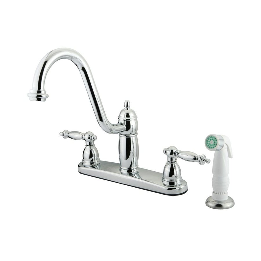 Elements of Design Templeton Chrome 2-Handle High-Arc Sink/Counter Mount Kitchen Faucet with Side Spray