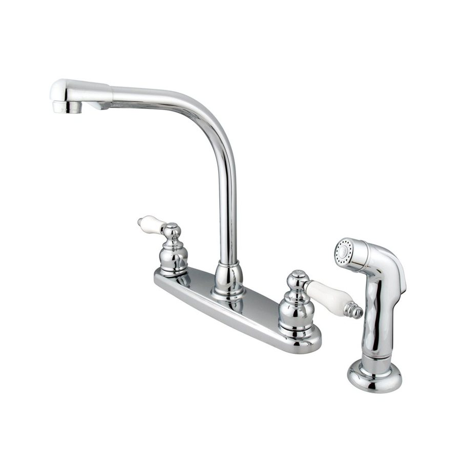 Elements of Design Victorian Chrome 2-Handle High-Arc Sink/Counter Mount Kitchen Faucet with Side Spray