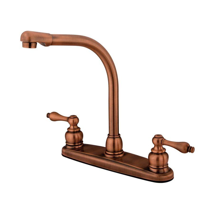 Elements of Design Victorian Antique Copper 2-Handle High-Arc Sink/Counter Mount Kitchen Faucet