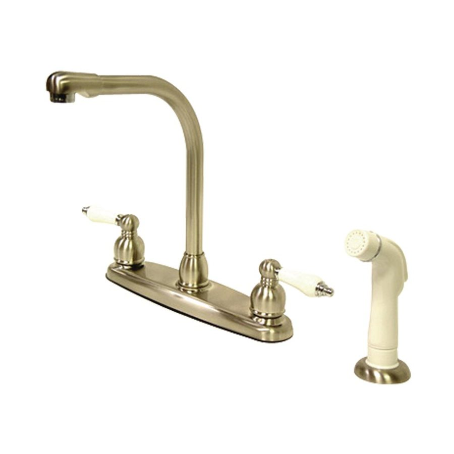 Elements of Design Victorian Satin Nickel/Chrome 2-Handle High-Arc Sink/Counter Mount Kitchen Faucet with Side Spray