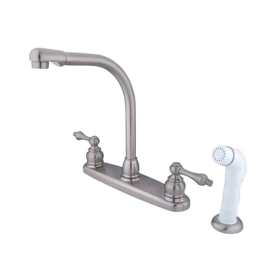 Elements of Design Victorian Satin Nickel 2-Handle High-Arc Sink/Counter Mount Kitchen Faucet with Side Spray