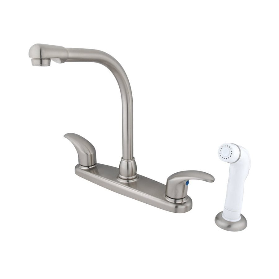 Elements of Design Daytona Satin Nickel 2-Handle High-Arc Sink/Counter Mount Kitchen Faucet with Side Spray