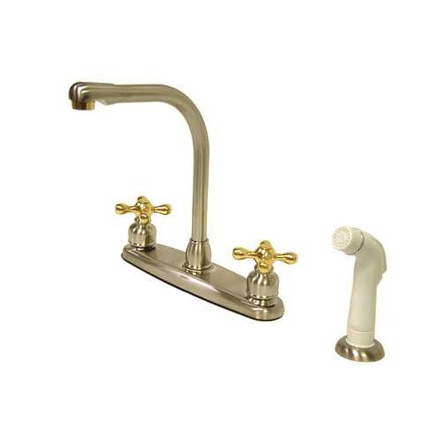 Elements of Design Victorian Satin Nickel/Polished Brass 2-Handle High-Arc Sink/Counter Mount Kitchen Faucet with Side Spray