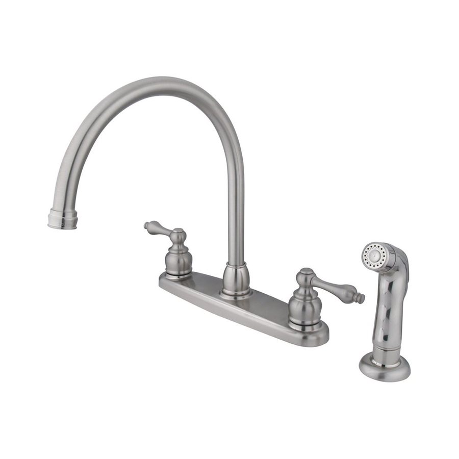 Elements of Design Victorian Satin Nickel 2-Handle High-Arc Kitchen Faucet with Side Spray