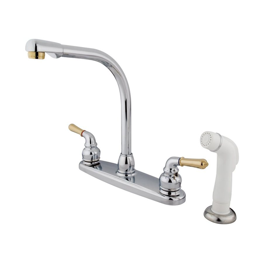 Elements of Design Magellan Chrome/Polished Brass 2-Handle High-Arc Sink/Counter Mount Kitchen Faucet with Side Spray