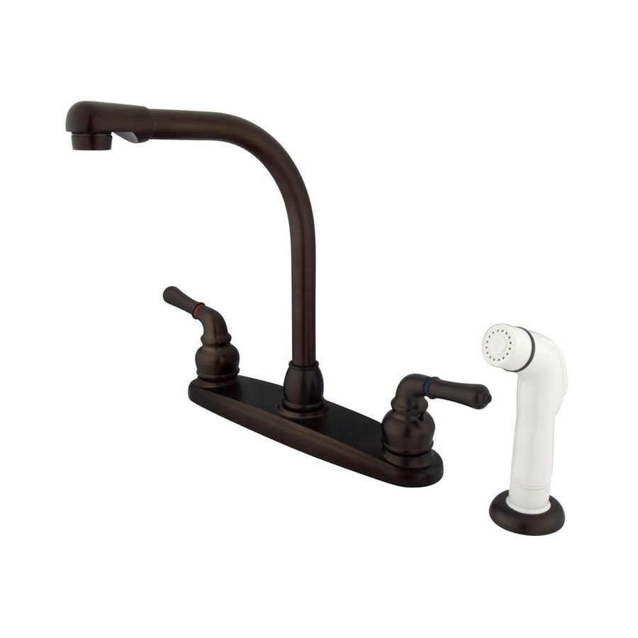 Elements of Design Magellan Oil-Rubbed Bronze 2-Handle High-Arc Sink/Counter Mount Kitchen Faucet with Side Spray
