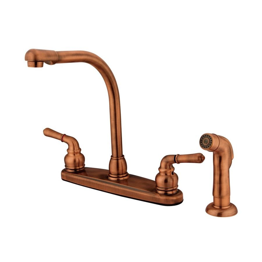 Elements of Design Magellan Antique Copper 2-Handle High-Arc Sink/Counter Mount Kitchen Faucet with Side Spray