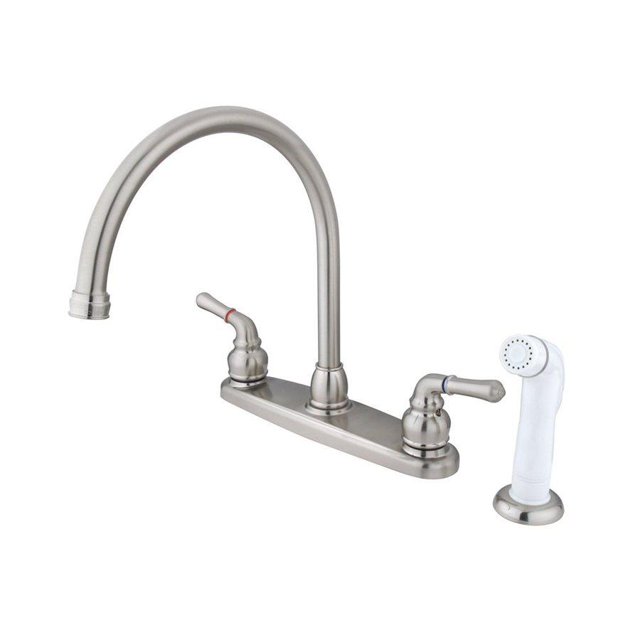 Elements of Design Magellan Satin Nickel 2-Handle High-Arc Kitchen Faucet with Side Spray