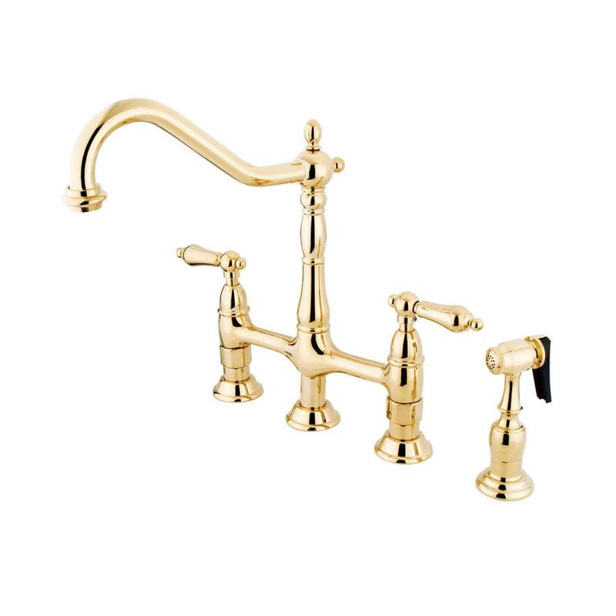 Shop Elements Of Design Polished Brass 2 Handle High Arc Sink Counter Mount Kitchen Faucet With