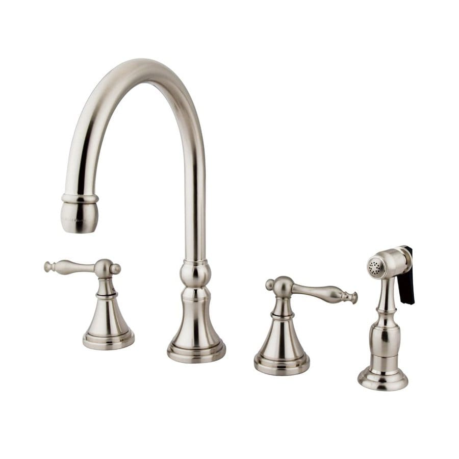 Shop Elements Of Design Satin Nickel 2 Handle High Arc Kitchen Faucet With Side Spray At
