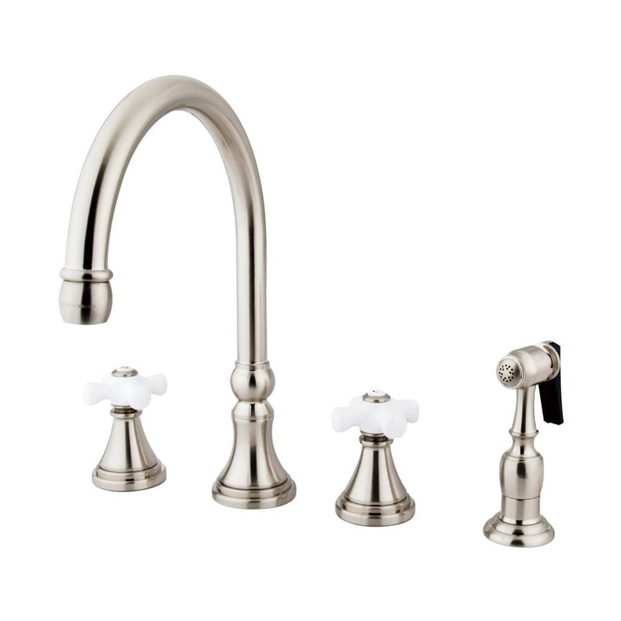Elements of Design Satin Nickel 2-Handle High-Arc Kitchen Faucet with Side Spray