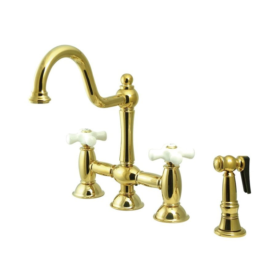 Elements of Design Restoration Polished Brass 2-Handle High-Arc Sink/Counter Mount Kitchen Faucet with Side Spray