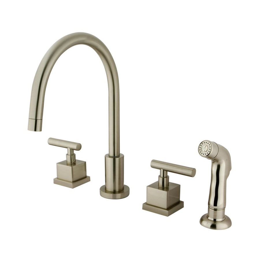 Shop Elements Of Design Satin Nickel 2 Handle High Arc Sink Counter Mount Kitchen Faucet With