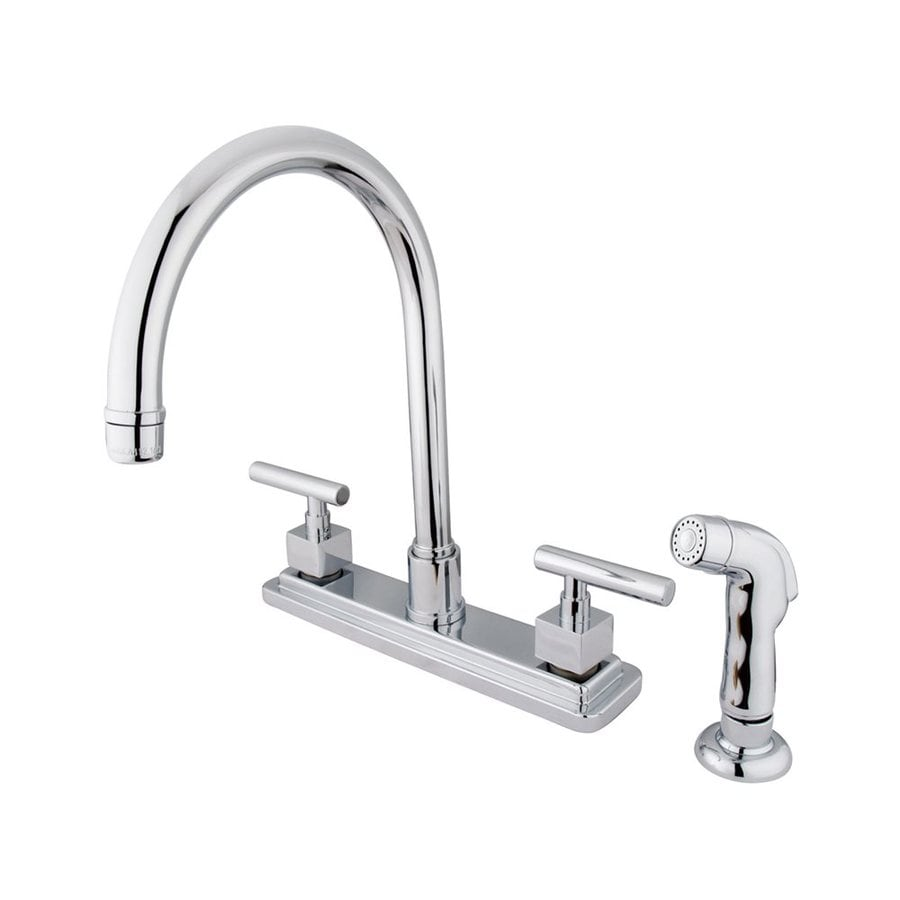 Elements of Design Claremont Chrome 2-Handle High-Arc Sink/Counter Mount Kitchen Faucet with Side Spray