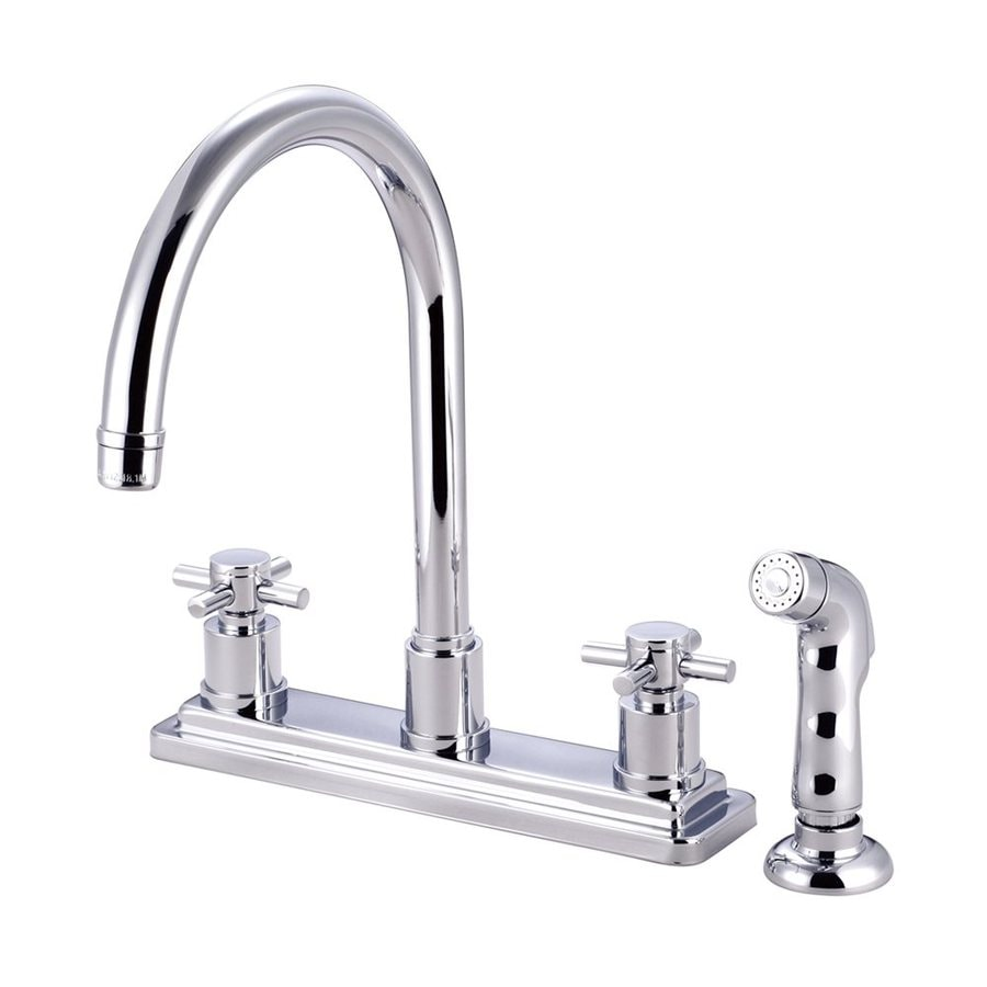 Elements of Design Concord Chrome 2-Handle High-Arc Sink/Counter Mount Kitchen Faucet with Side Spray