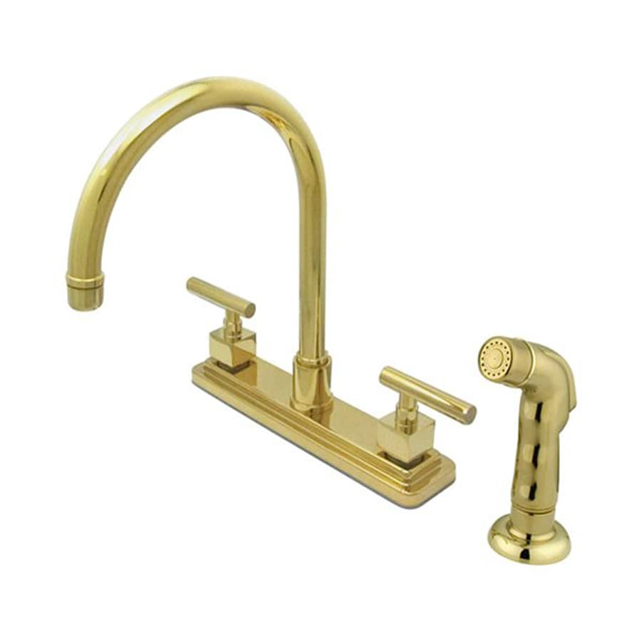 Elements of Design Claremont Polished Brass 2-Handle High-Arc Sink/Counter Mount Kitchen Faucet with Side Spray