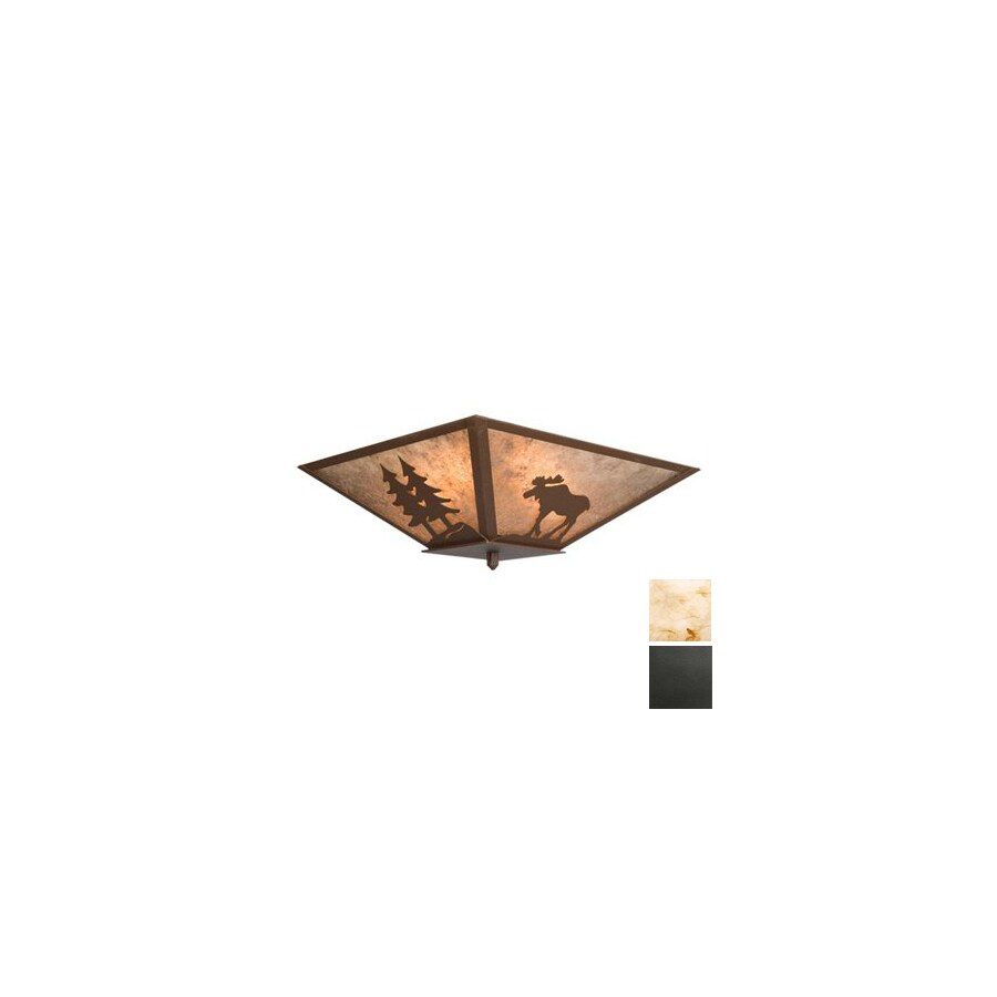 Steel Partners 17-in Old Iron Ceiling Flush Mount