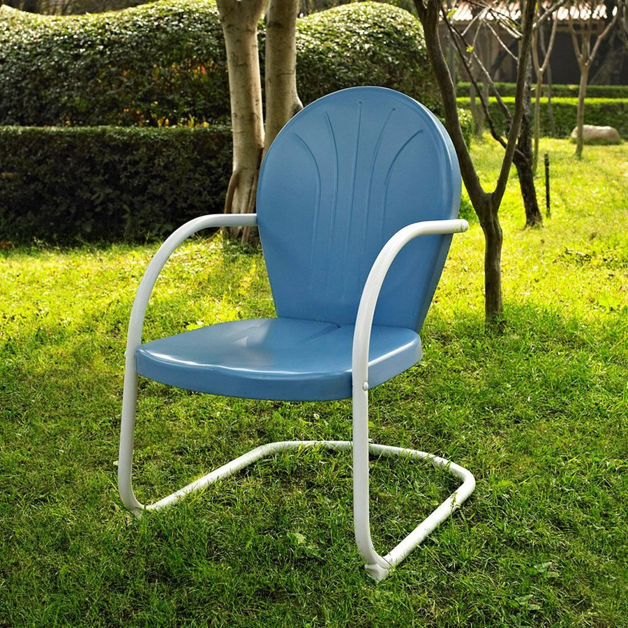 Crosley Furniture Griffith Sky Blue Steel Patio Conversation Chair