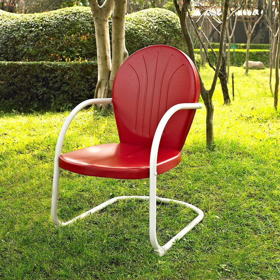 Crosley Furniture Griffith Red Steel Patio Conversation Chair