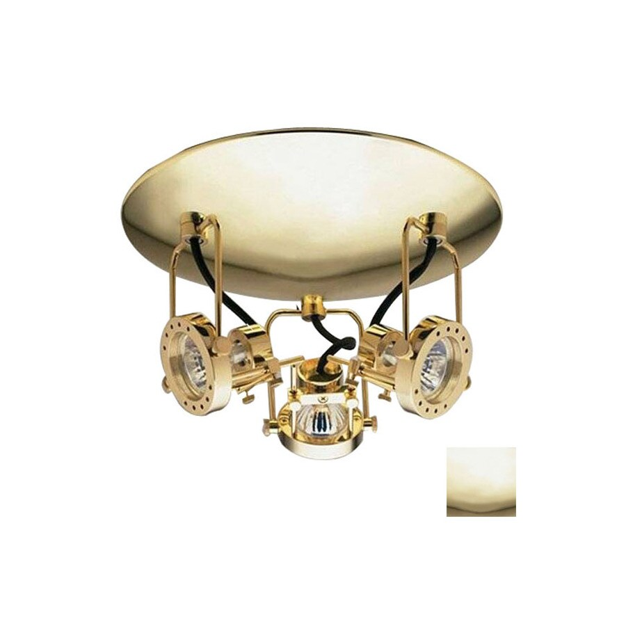 PLC Lighting 3-Light 11-in Polished Brass Flush Mount Fixed Track Light Kit