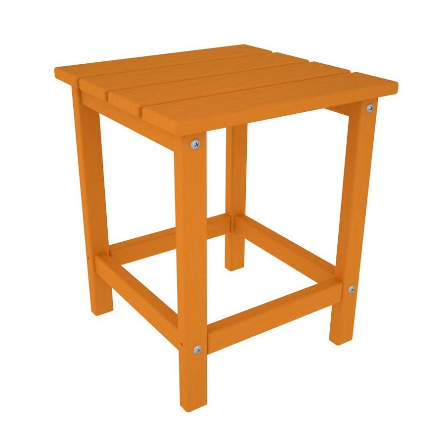 POLYWOOD Long Island Adirondack 15-in x 15-in Tangerine Square Patio End Table