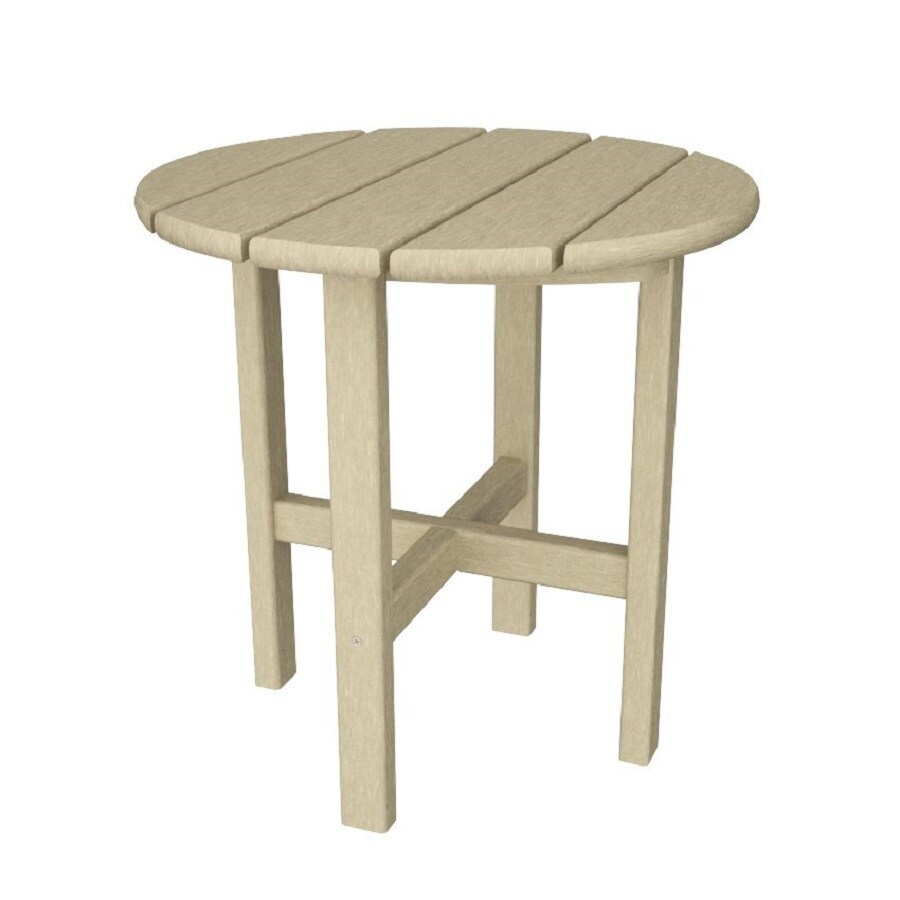 POLYWOOD 18-in x 18-in Sand Round Patio End Table
