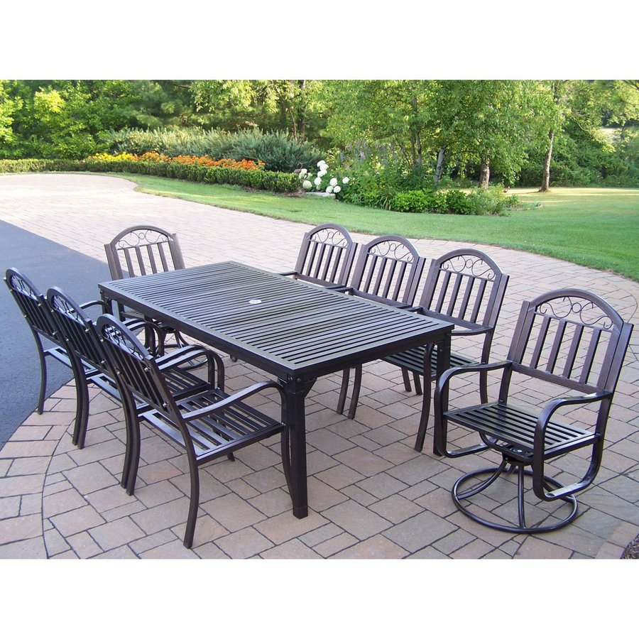 living rochester 9 piece hammer tone bronze iron patio dining set