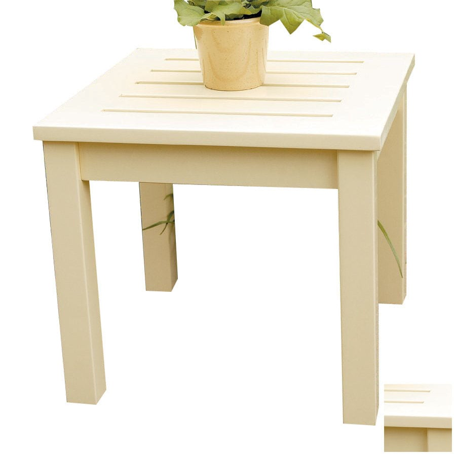 ACHLA Designs 17.5-in x 17.5-in Antique Ivory Wood Square Patio Side Table