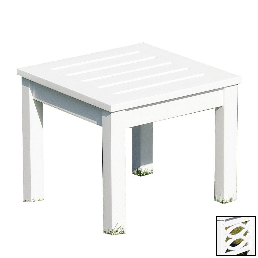 ACHLA Designs 17.5-in x 17.5-in White Wood Square Patio End Table