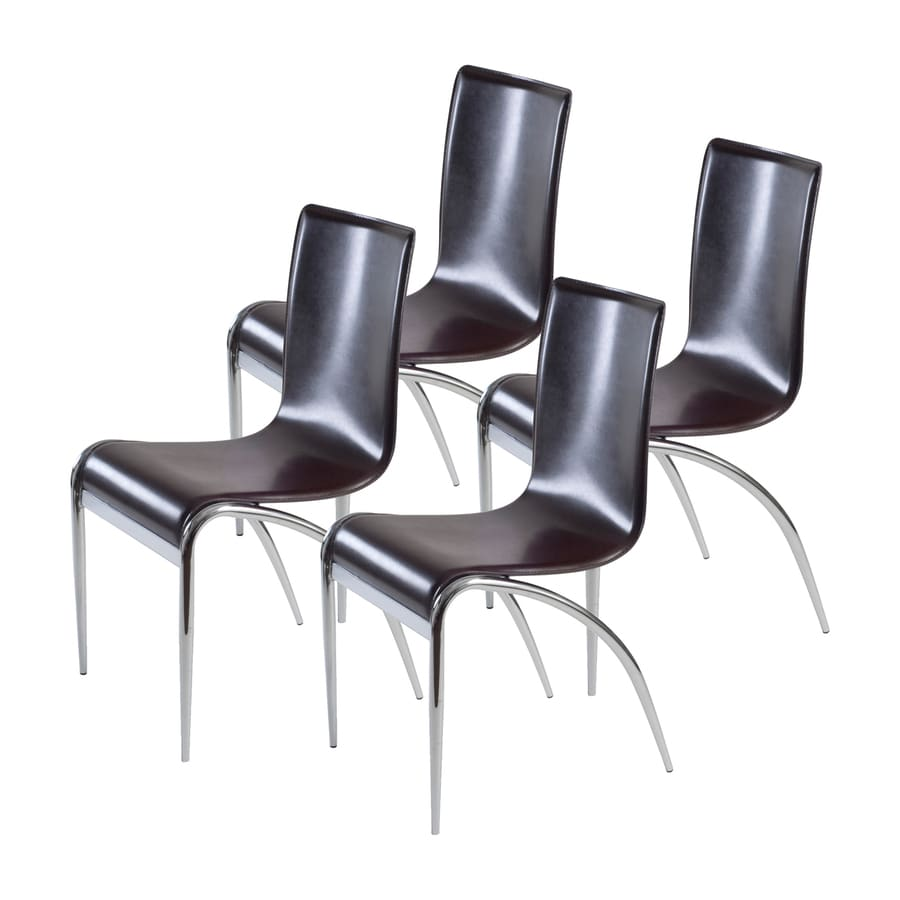 Eurostyle Set of 4 Grace Chrome Stackable Side Chairs