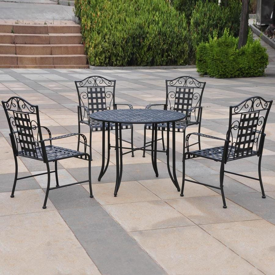 Shop international caravan mandalay 5 piece wrought iron for Best wrought iron patio furniture