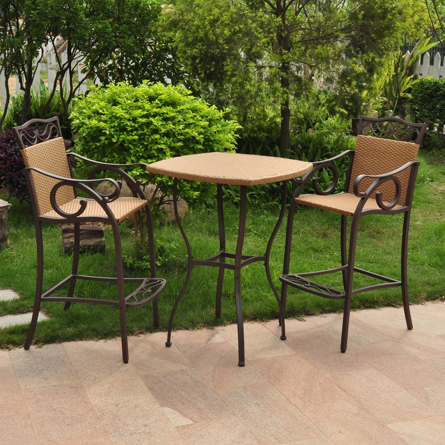 shop international caravan valencia 3 wicker bar patio dining set at lowes