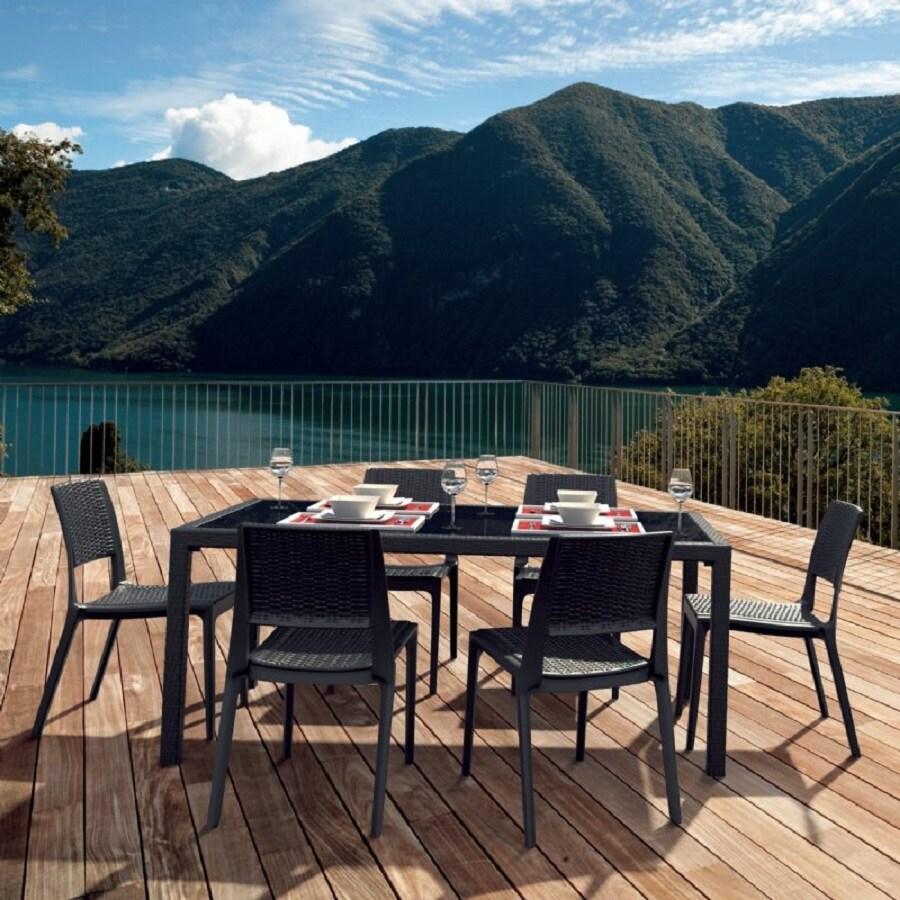 Compamia Miami Wickerlook 7-Piece Coffee Brown Glass Patio Dining Set
