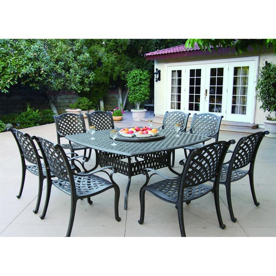 Darlee Nassau 10-Piece Antique Bronze Aluminum Dining Patio Dining Set