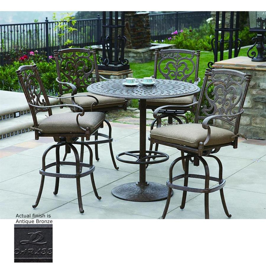 Shop Darlee Santa Barbara 5 Piece Antique Bronze Aluminum Bar Patio Dining Se