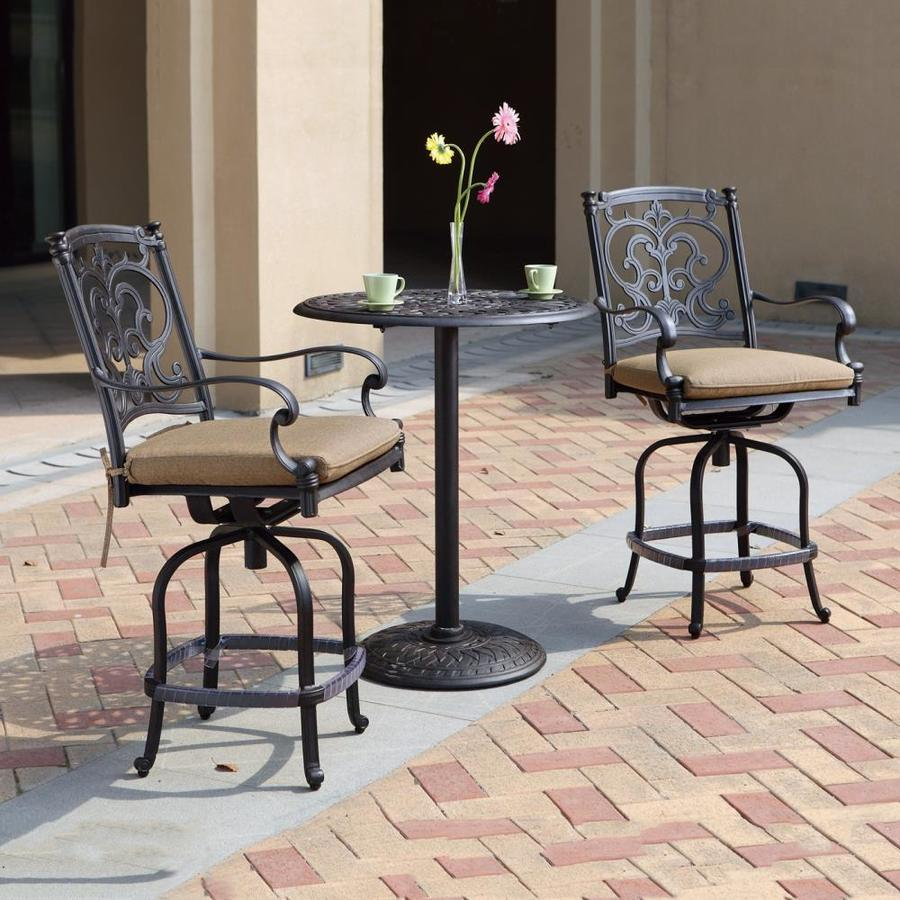 Darlee Santa Barbara 3-Piece Antique Bronze Aluminum Bar Patio Dining Set