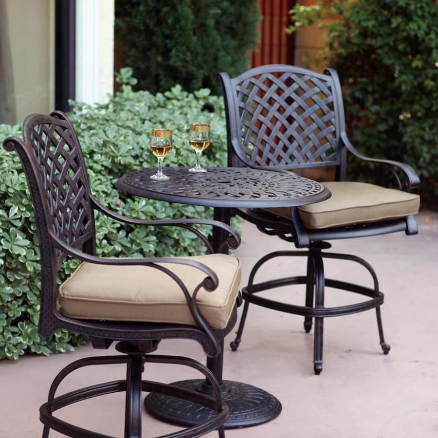 darlee nassau 3 piece antique bronze aluminum bar patio dining set