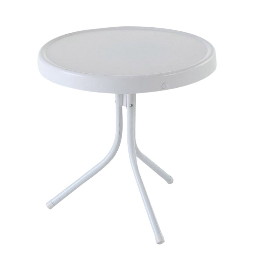 Crosley Furniture Griffith 20-in x 20-in White Steel Round Patio Side Table