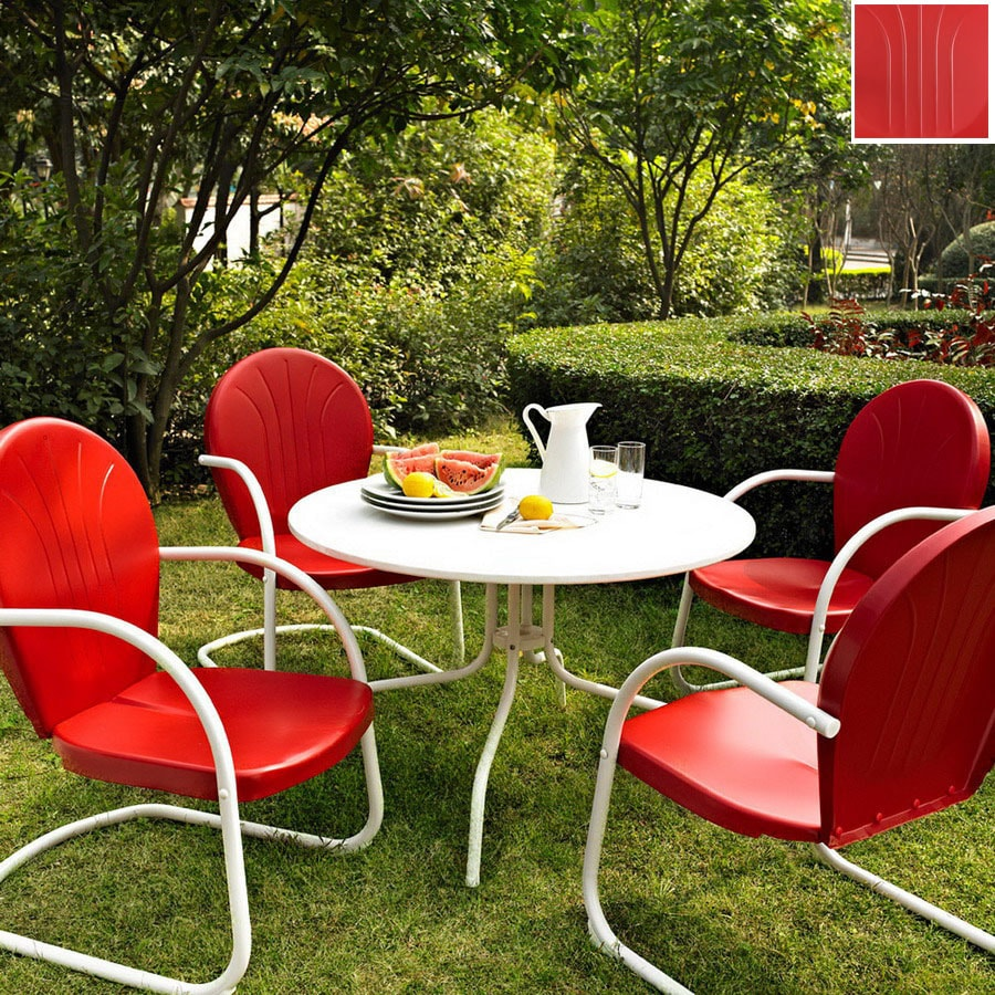 Shop crosley furniture griffith 5 piece red steel patio for Red metal patio furniture