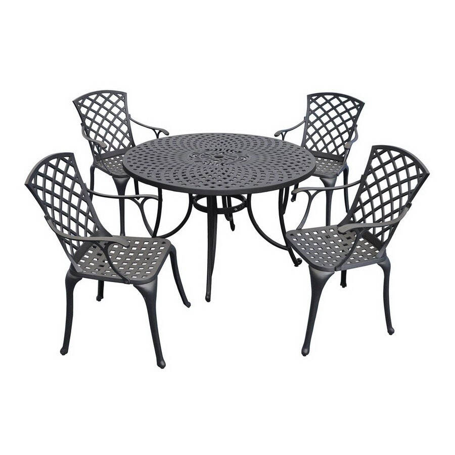 Crosley Furniture Sedona 5-Piece Charcoal Black Aluminum Patio Dining Set