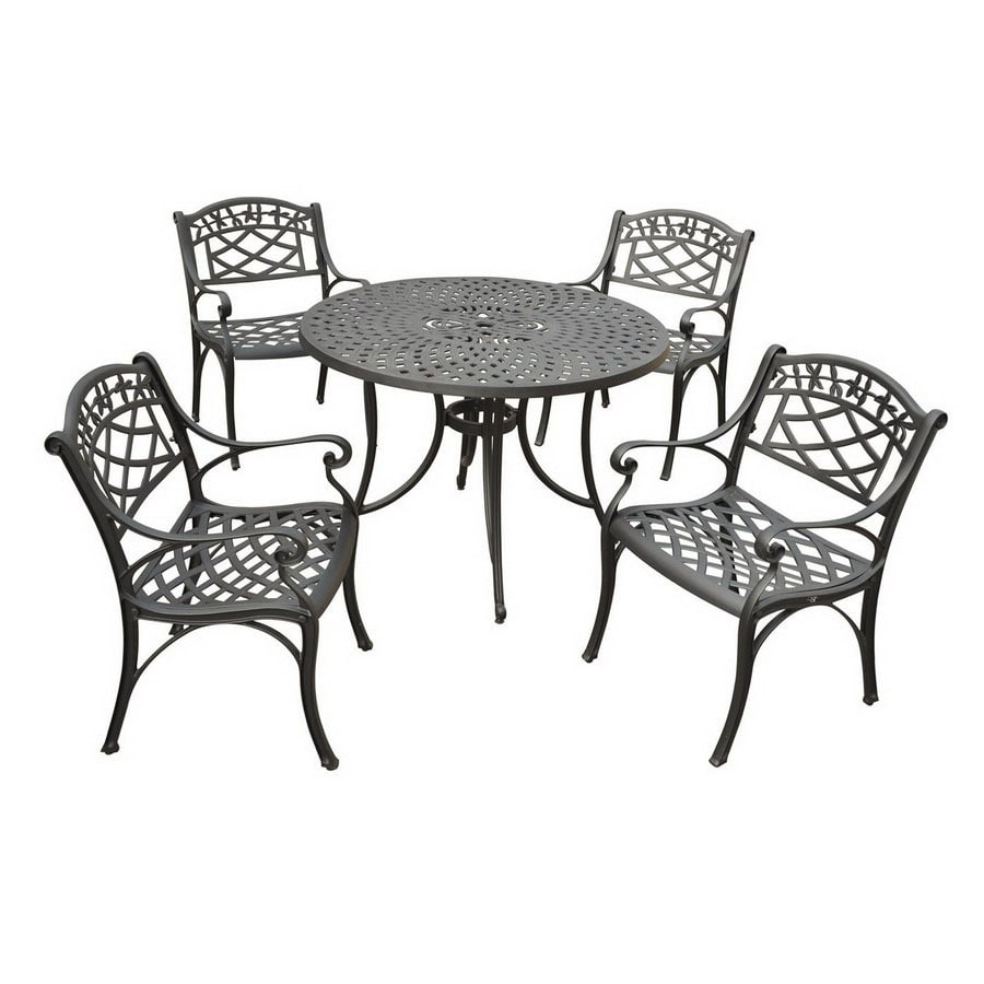 crosley furniture sedona 5 piece charcoal black aluminum patio dining