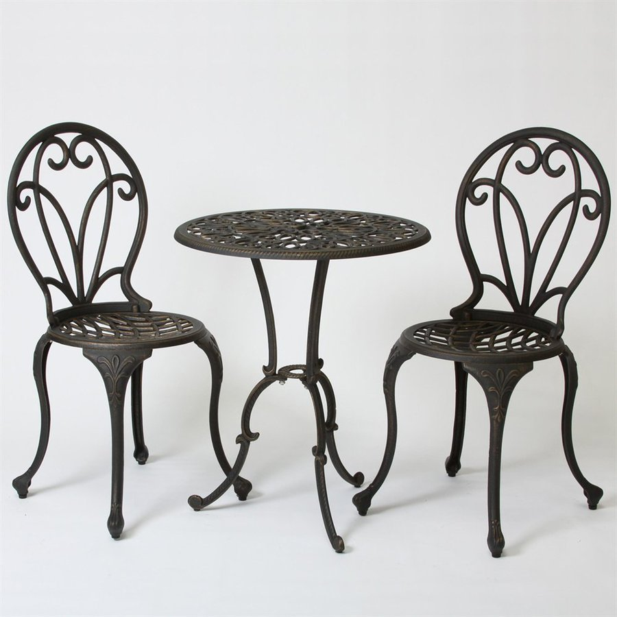 Best Ing Home Decor Thomas 3 Piece Black Gold Aluminum Bistro Patio Dining Set