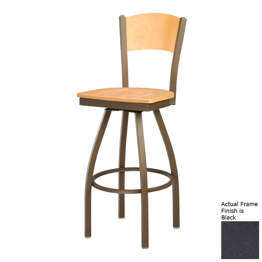 Regal Seating Steel Black/Natural 26-in Counter Stool