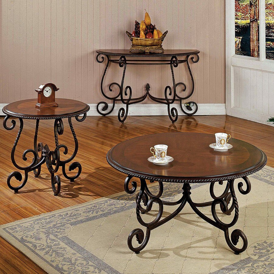 Steve Silver Company Crowley Cherry Metal Accent Table Set