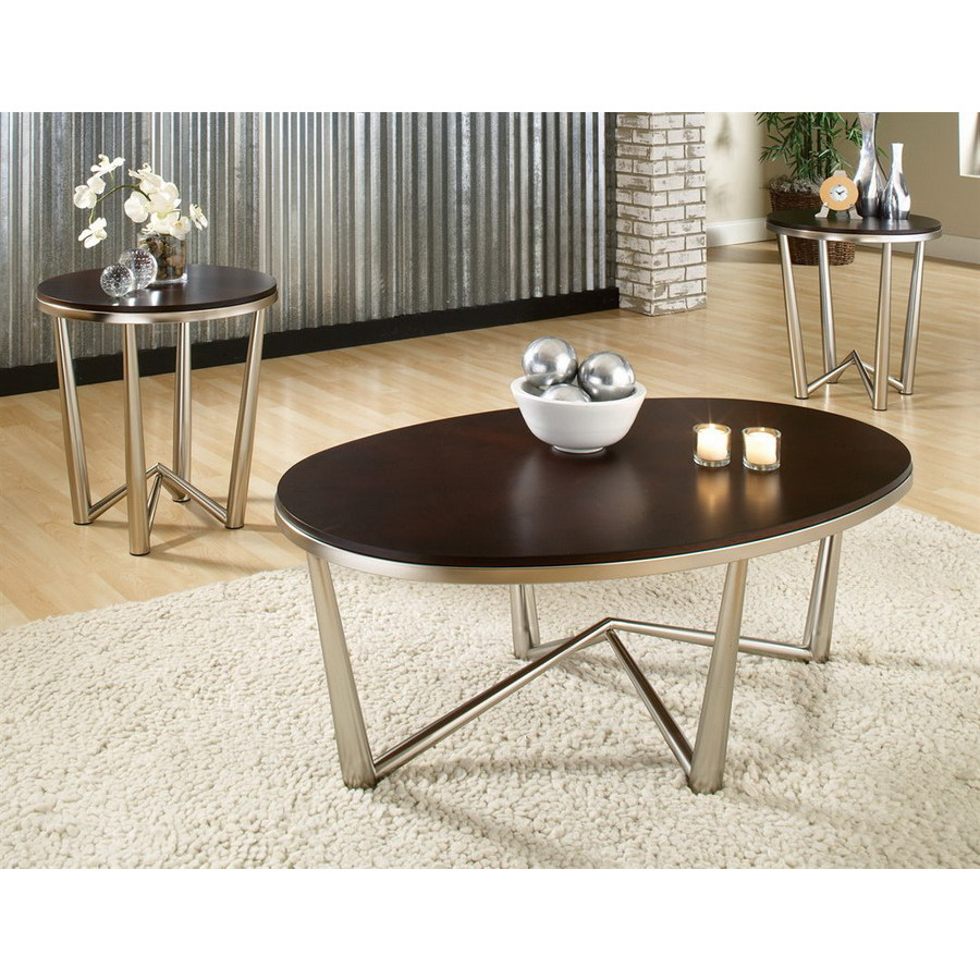 Steve Silver Company Cosmo Espresso/Brushed Nickel Metal Accent Table Set