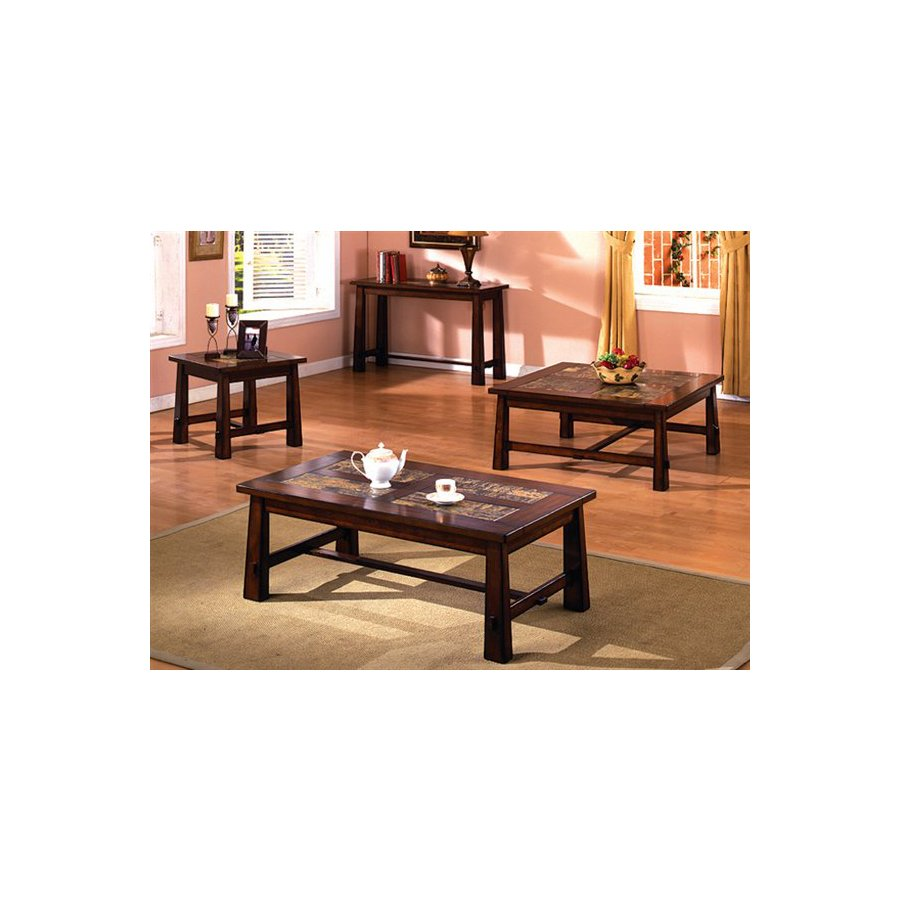 Furniture of America Living Stone Tobacco Oak Accent Table Set