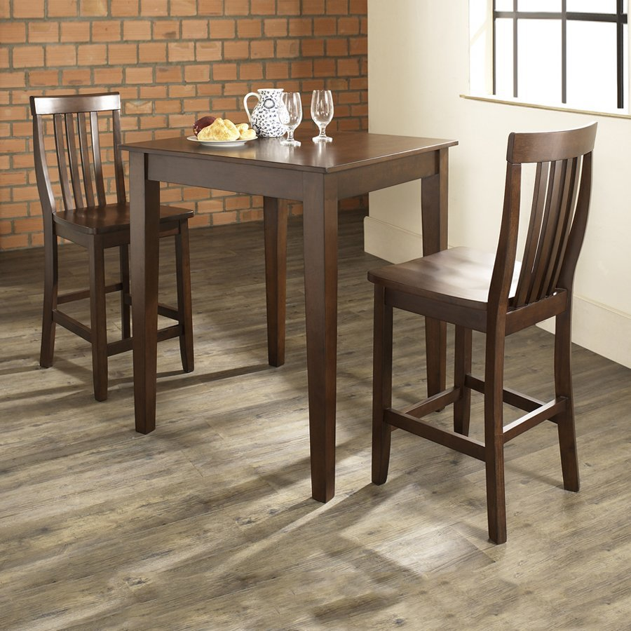 Crosley Furniture Vintage Mahogany Dining Set With Square Counter Table and Stools