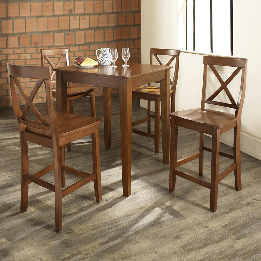 Crosley Furniture Classic Cherry Dining Set With Square Counter Table and Stools