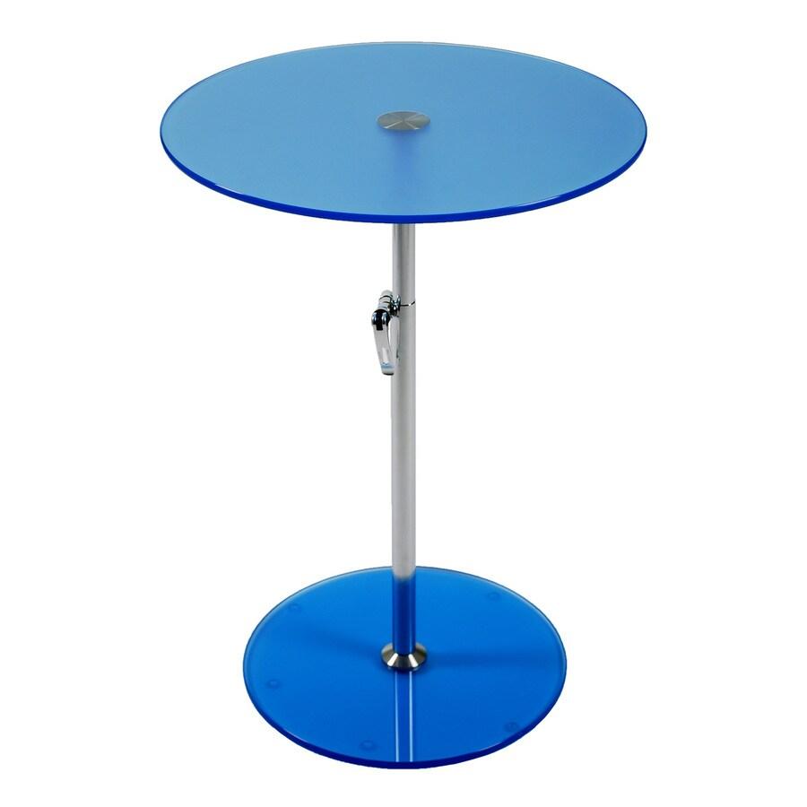 Eurostyle Radinka Chrome/Blue Round Adjustable-Height Dining Table